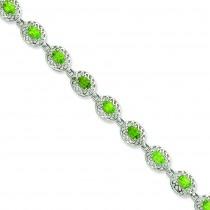Peridot Filigree Bracelet in Sterling Silver