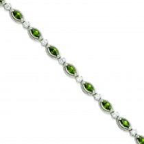 7.5inch Green Clear CZ Bracelet in Sterling Silver