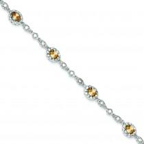 7inch Champagne CZ Bracelet in Sterling Silver