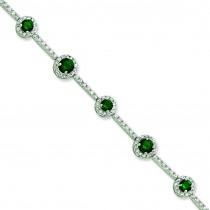 7.25inch Green CZ Bracelet in Sterling Silver