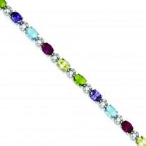 7inch Multicolor CZ Bracelet in Sterling Silver