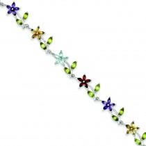 7.75inch Multicolor Floral Bracelet in Sterling Silver