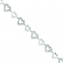 Polished CZ Hearts Bracelet in Sterling Silver