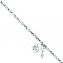 CZ Lock Key Rolo Bracelet in Sterling Silver