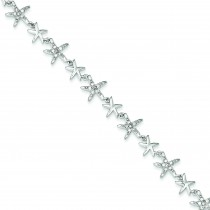 Alternating Polished CZ Starfish Link Bracelet in Sterling Silver