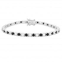 Sapphire White Topaz Tennis Bracelet in Sterling Silver