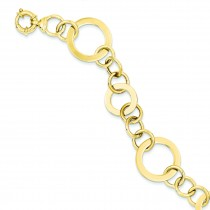 Fancy Circle Link Bracelet in 14k Yellow Gold