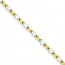Rhodium Heart X Bracelet in 14k Yellow Gold