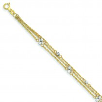 Triple Strand Bracelet in 14k Two-tone Gold