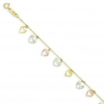 Heart Bracelet in 14k Tri-color Gold