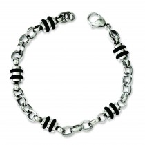 Rubber Accent Barrel Link Bracelet in Stainless Steel