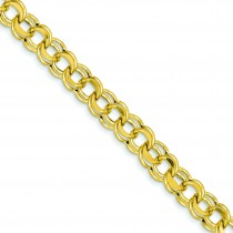 Lite 8.5mm Double Link Charm Bracelet in 14k Yellow Gold