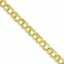 Lite Triple Link Charm Bracelet in 14k Yellow Gold