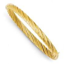 Fancy Swirl Hinged Bangle Bracelet in 14k Yellow Gold