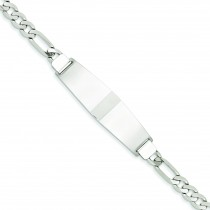Polished Figaro Link ID Bracelet in 14k White Gold