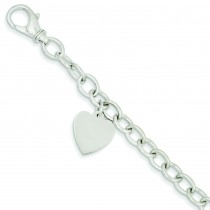 Link Heart Charm Bracelet in 14k White Gold