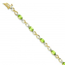 Peridot Diamond Bracelet in 14k Yellow Gold