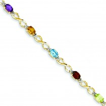 Rainbow Diamond Bracelet in 14k Yellow Gold