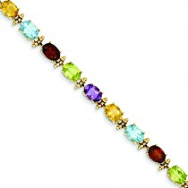 Rainbow Gemstone Bracelet in 14k Yellow Gold