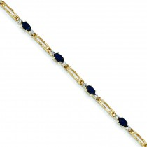 Completed Fancy DiamondSapphire Bracelet in 14k Yellow Gold