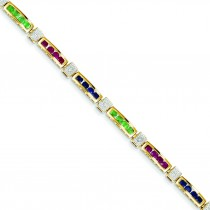 Completed Ruby Sapphire Emerald Fancy Bracelet in 14k Yellow Gold
