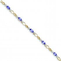 Completed Open-Link DiamondTanzanite Bracelet in 14k Yellow Gold