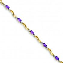 Completed Fancy DiamondAmethyst Bracelet in 14k Yellow Gold