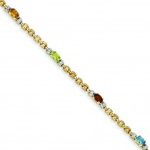 Fancy Genuine Diamond Gemstone Rainbow in 14k Yellow Gold