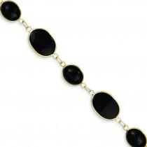Polished Genuine Fancy Onyx Bracelet in 14k Yellow Gold