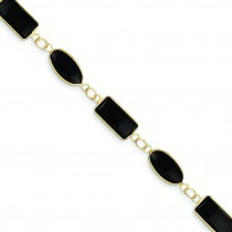 Polished Genuine Fancy Onyx Bracelet in 14k Yellow Gold