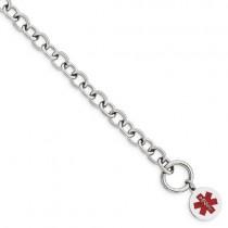 Engravable Circular Disc Medical ID Bracelet in Sterling Silver