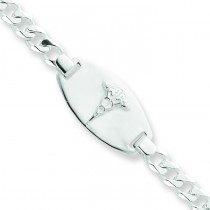 Medical Jewelry Curb Link Bracelet in Sterling Silver