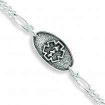Antiqued Polished Medical Bracelet in Sterling Silver