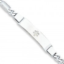 Medical ID Figaro Link Bracelet in Sterling Silver