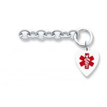 Engravable Heart Medical ID Bracelet in Sterling Silver