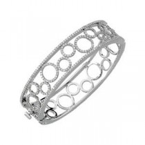 Diamond Bangle Bracelet in 14k White Gold (6.875 Ct. tw.) (6.875 Ct. tw.)