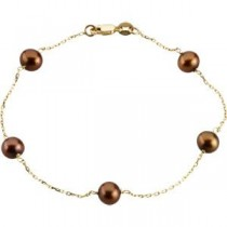 Pearl Station Bracelet in 14k Yellow Gold