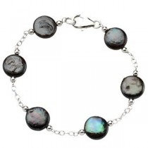 Black Coin Pearl Station Bracelet in Sterling Silver