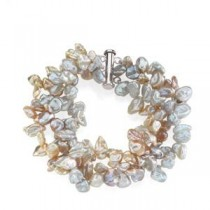 Multicolor Pearl Bracelet in Sterling Silver