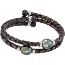 Black Pearl Cuff Bracelet in Sterling Silver