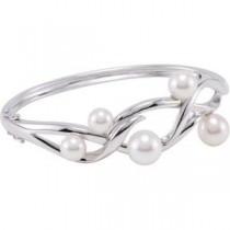 Pearl Bangle Bracelet in Sterling Silver