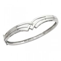 Hinged Bangle Bracelet in 14k White Gold