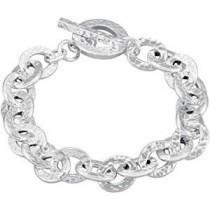 Hammered Link Bracelet in Sterling Silver