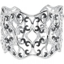 Inch Black White Diamond Cuff Bracelet in Sterling Silver (1.33 Ct. tw.)