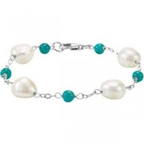 Freshwater Cultured Baroque Pearl Genuine Turquoise Bracelet in Sterling Silver