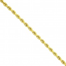 14k Yellow Gold 20 inch 7.00 mm Handmade Diamond-cut Rope Chain Necklace