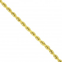 14k Yellow Gold 22 inch 10.00 mm Handmade Diamond-cut Rope Chain Necklace
