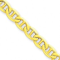 14k Yellow Gold 7 inch 5.10 mm Lightweight Anchor Chain Bracelet