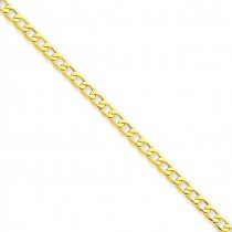 14k Yellow Gold 7 inch 3.35 mm Light Curb Chain Bracelet