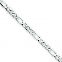 14k White Gold 10 inch 2.50 mm Light Figaro Ankle Bracelet